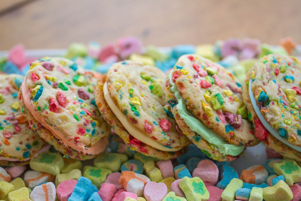 Lucky Charms Rainbow Sandwich Cookies
