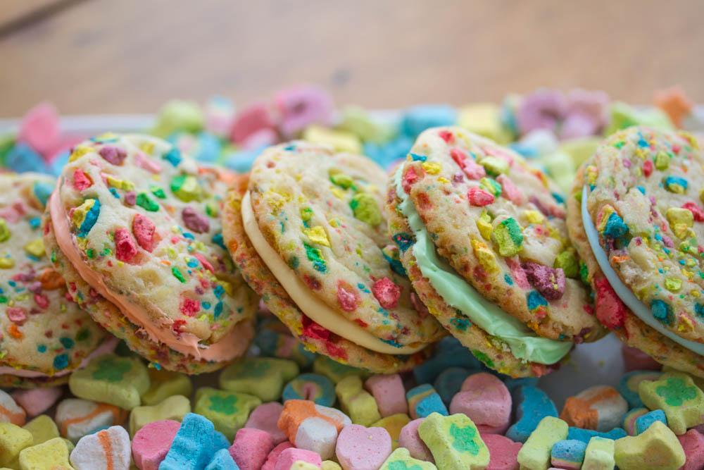 Lucky Charms Rainbow Sandwich Cookies