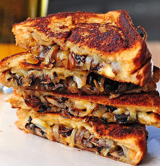 Roasted Mushrooms, Onions, and Gouda Grilled Cheese