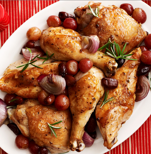 Harvest Roast Chicken with Olives, Grapes, and Rosemary