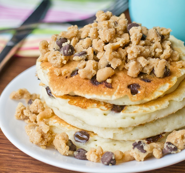Peanut Butter Streusel Chocolate Chip Pancakes