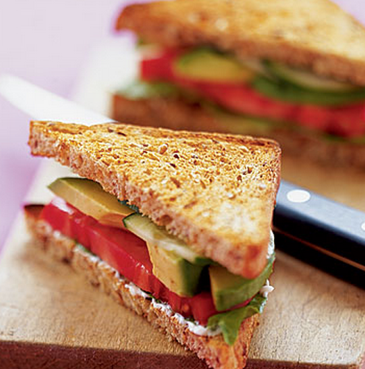Avocado, Lettuce, and Tomato Sandwiches