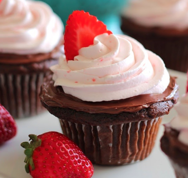 Chocolate Nutella Cupcakes with Strawberry Whipped Cream